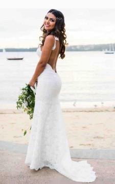 Bohemian Beach Sexy Spaghetti Straps Backless Lace Wedding Dress