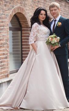 V-Neck Illusion Long Sleeve A-Line Satin Appliqued Plus Size Wedding Dress