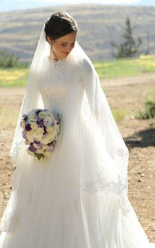 Elegant High Neck Half Sleeves Appliques Lace Tulle Floor Length Modest Wedding Gown