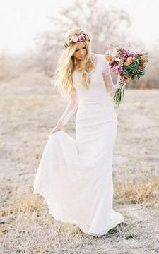 Sheath Mini V-Neck Long Sleeve Brush Train Zipper Lace Wedding Dress