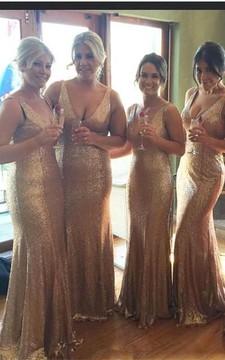 Stunnning V-Neck Sequins Gold Bridesmaid Dresses 2018 Plus Size Long Floor Length