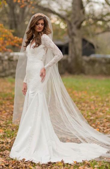 Cheap Vintage Bridal Dresses Retro Long Sleeve Lace Wedding Gown Dorris Wedding