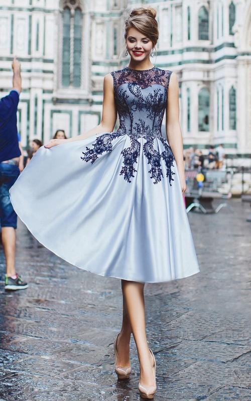 A-Line Knee-Length High-Neck Sleeveless Satin Appliques Beading Button Dress