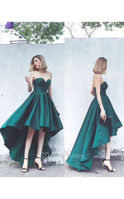 Sexy Sweetheart Empire Satin High-Low Lace-Up Gown With Ruching