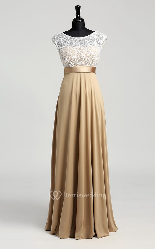 A-line Bateau Cap Short Sleeve Floor-length Jersey Lace Dress