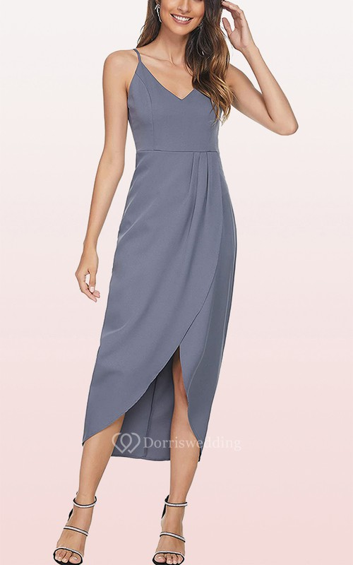 Sexy Chiffon V-neck Bodycon Cocktail Dress With Draping and Split Front