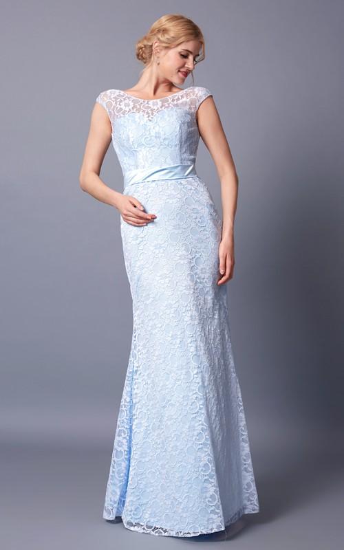 Demure Cap Sleeve Jewel Neck Long Lace Dress With Sash