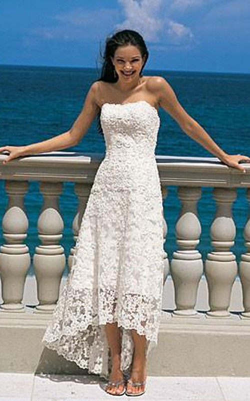 Gorgeous sheath Strapless Asymmetry-length Lace Wedding Dresses