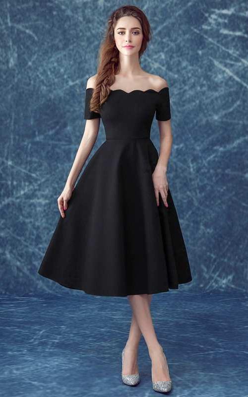 Off The Shoulder Short Sleeve A-line Pleated Short Satin Dress