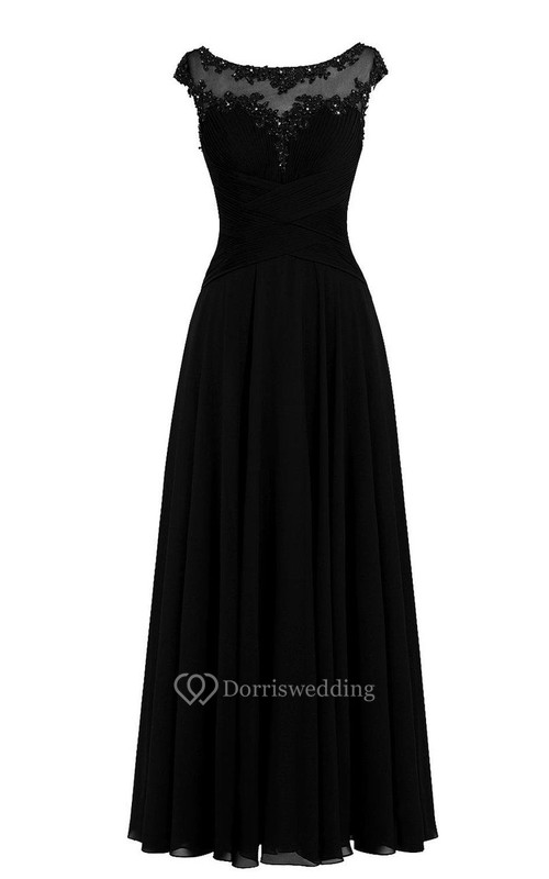 Cap-sleeved A-line Chiffon Dress With Illusion Neckline