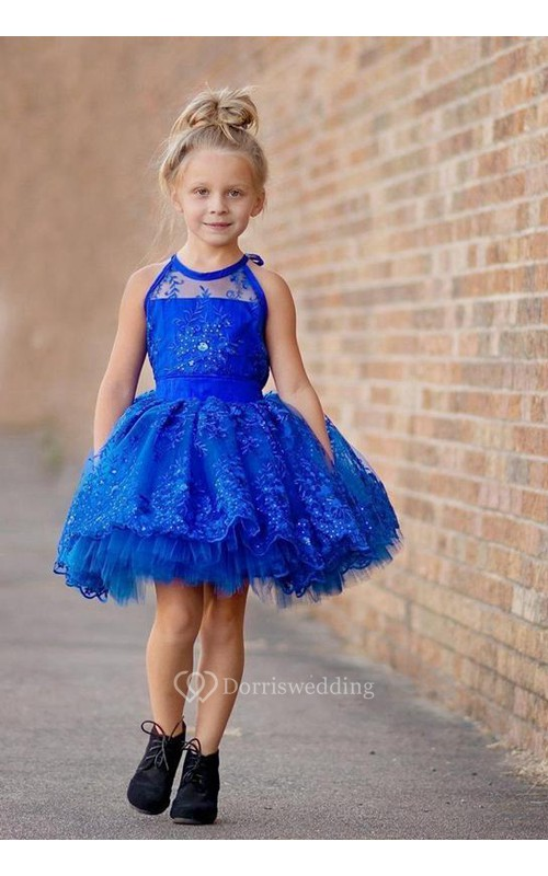 Newest Royal Blue Lace Appliques 2018 Flower Girl Dress Halter Puffy Mini
