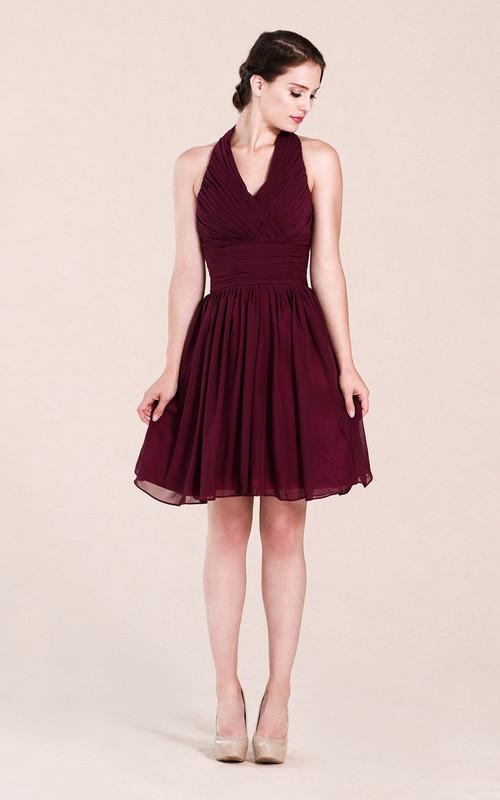 Halter A-line Short Chiffon Dress With Pleats