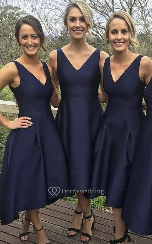 V-neck Sleeveless Tea-length Satin A-Line Dress