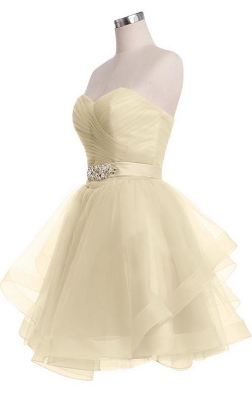 Sweetheart A-line Mini Dress With Pearled Waist