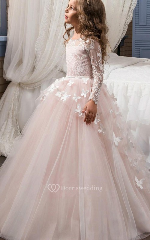 Tulle Bateau Long Sleeves Ball Gown Flower Girl Dress with Applique