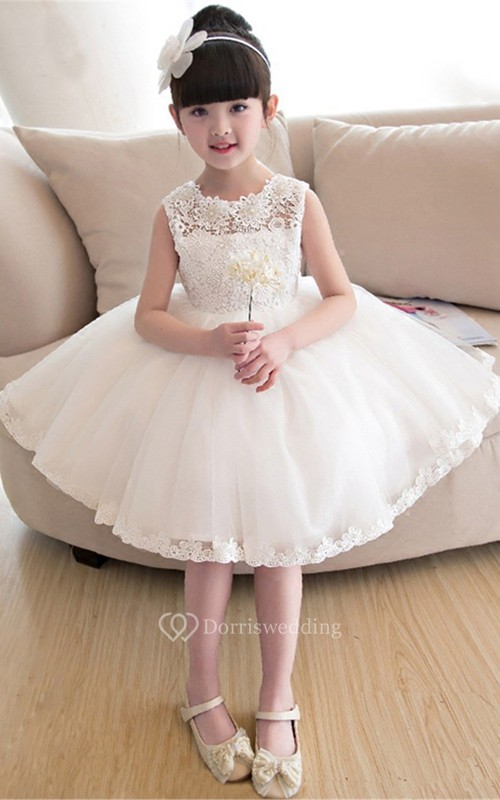 Short Lace and Tulle Sleeveless Flower Girl Dress with Bow