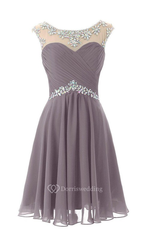 Cap-sleeved Chiffon Dress With Beading and Keyhole Back