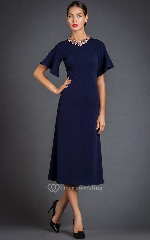 High Neck Short Bell Sleeve A-line Tea Length Jersey Dress