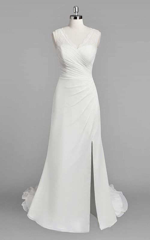 V-Neck Sleeveless Sheath Chiffon Wedding Dress With Ruching and Split Side