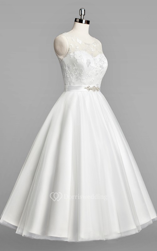 Scoop Neck Sleeveless A-Line Tulle Tea-Length Wedding Dress With Beaded Sash