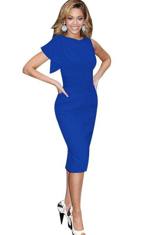 Elegant Ruffles Bodycon Knee Length High Neck Jersey Dress