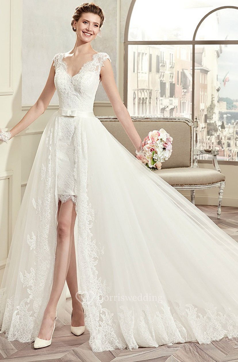 Flowy Ivory A line open back tulle lace wedding dress with capsleeves